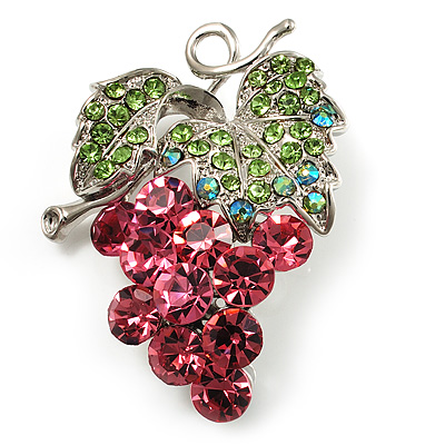 Swarovski Crystal Bunch Of Grapes Brooch (Pink & Light Green, Silver Tone)