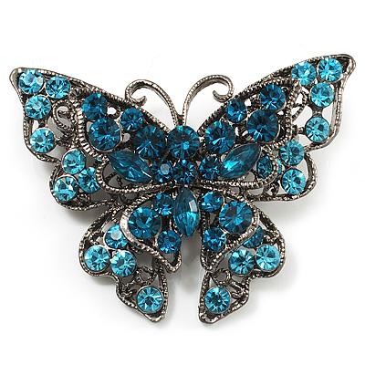 5dc14bf4713 Azure Blue Crystal Filigree Butterfly Brooch (Silver Tone) - avalaya.com