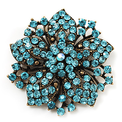 Victorian Corsage Flower Brooch (Antique Gold & Aqua Blue)