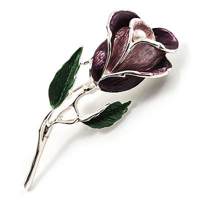 Romantic Enamel Rose Brooch (Violet & Green, Silver Tone)