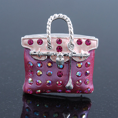 Pink Crystal Designer Bag Brooch (Silver Tone) - 30mm Length