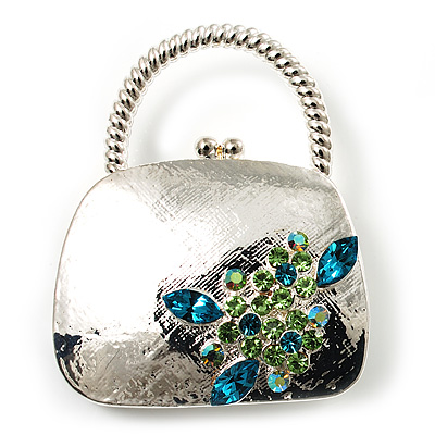 Stylish Crystal Bag Brooch (Rhodium Plated & Light Blue, Light Green)