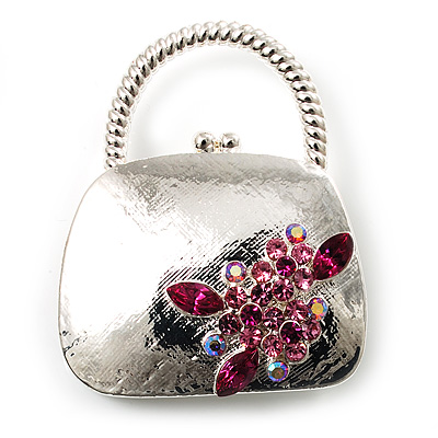 Stylish Crystal Bag Brooch (Rhodium Plated & Fuchsia, Pink)