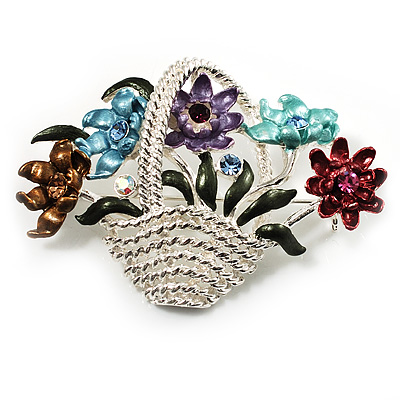 Fancy Enamel Multicoloured Flower Basket Brooch (Silver Tone)