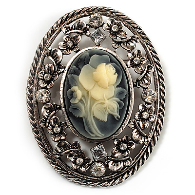 Vintage Floral Crystal Cameo Brooch (Antique Silver Finish) - main view
