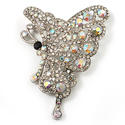 AB Diamante Butterfly Brooch (Silver Tone) - main view