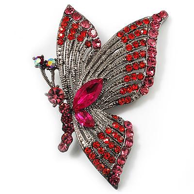 Exotic Magenta Diamante Butterfly Brooch (Gun Metal Finish)