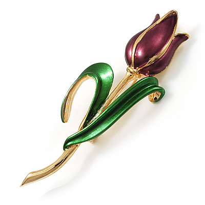 Fancy Enamel Tulip Brooch (Dark Purple & Gold Tone)