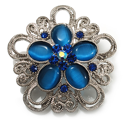 Silver Plated Filigree Blue Crystal Corsage Brooch