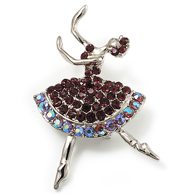 Purple Crystal Ballerina Brooch (Silver Tone)