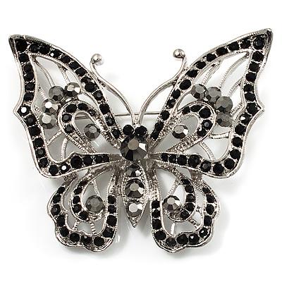 Jet Black Crystal Butterfly Brooch (Silver Tone Metal)