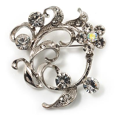 Clear Crystal Floral Wreath Brooch (Silver Tone)