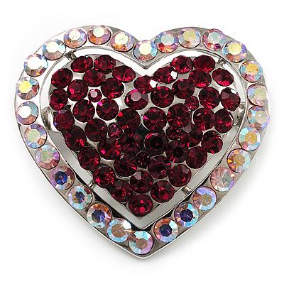 Silver Tone Dazzling Diamante Heart Brooch (Cherry & Iridescent Pink)