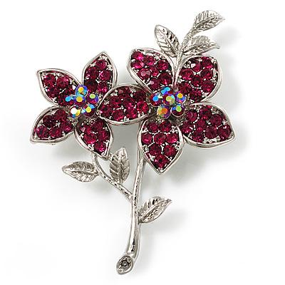 Magenta Swarovski Crystal Flower Brooch (Silver Tone) - main view