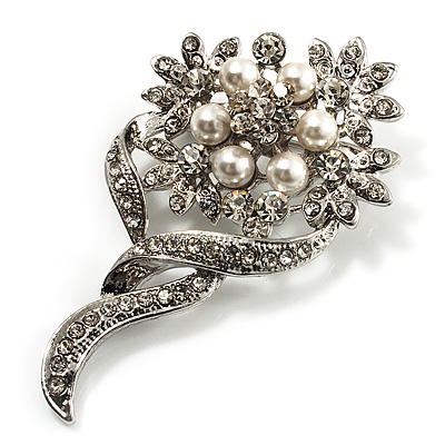 Bridal Snow White Faux Pearl Crystal Floral Brooch (Silver Tone) - main view
