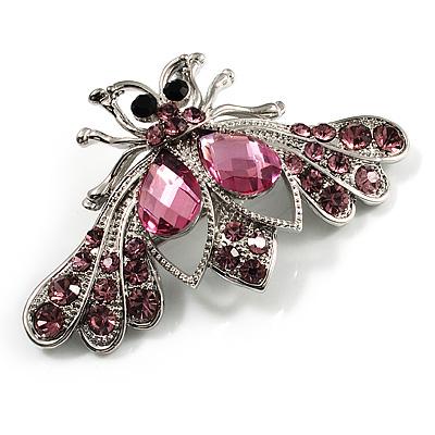 Pink Crystal Moth Brooch (Silver Tone)