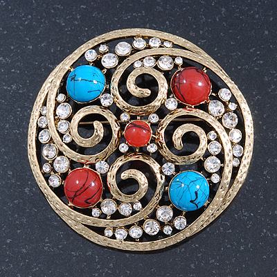 Large Vintage Round Turquoise Stone, Crystal Brooch (Gold Tone) - 67mm Diameter