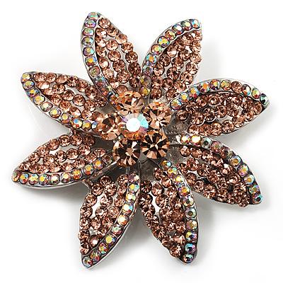 Peach Swarovski Crystal Bridal Corsage Brooch (Silver Tone)
