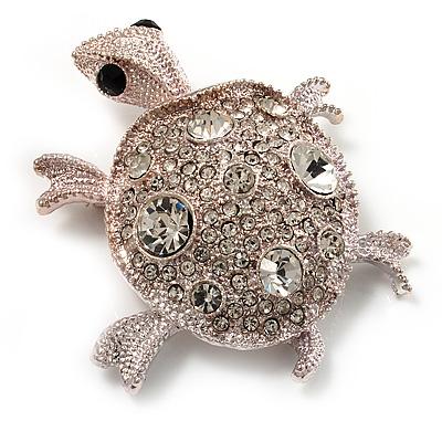 Cute Diamante Turtle Brooch (Rhodium Plated)