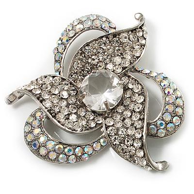 Vintage AB Corsage Floral Brooch (Silver Tone)