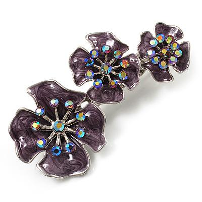 Purple Enamel Diamante Flower Brooch (Silver Tone)