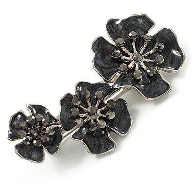 Slate Black Enamel Diamante Flower Brooch (Silver Tone)