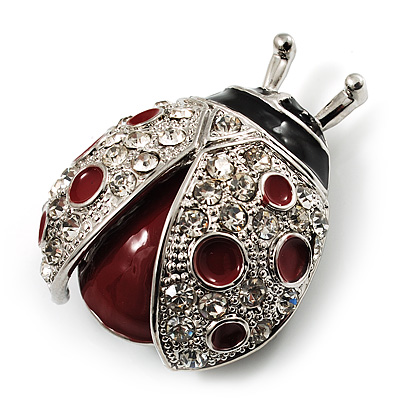 Red Enamel Ladybug Brooch (Silver Tone) - main view