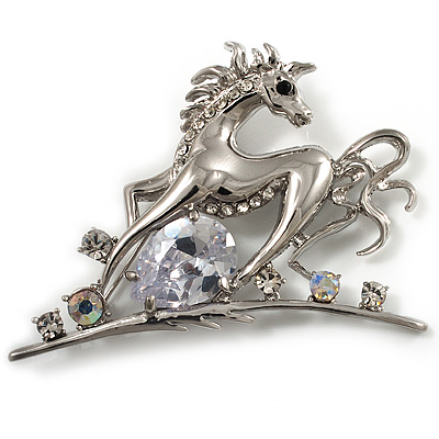 Rhodium Plated Clear CZ Horse Brooch