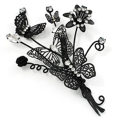 Gigantic Black Crystal Filigree Flower And Butterfly Crystal Brooch (Catwalk - 2014)
