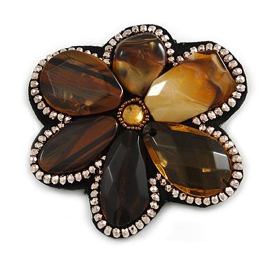 Gigantic Amber Coloured Acrylic Stone Flower Brooch (Catwalk - 2014)