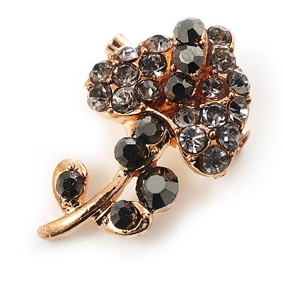 Tiny Black Crystal Calla Lily Pin Brooch (Gold Tone)