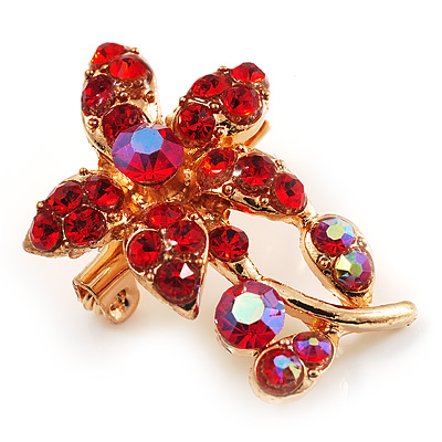 Tiny Red Crystal Floral Pin Brooch (Gold Tone)