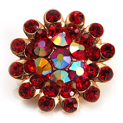 Tiny Red Crystal Daisy Pin Brooch (Gold Tone)