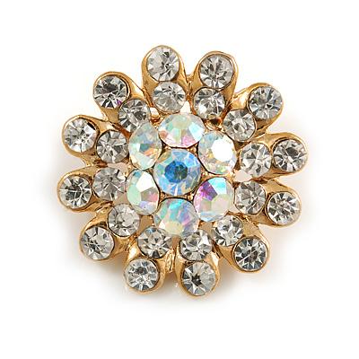 Tiny AB Crystal Daisy Pin Brooch (Gold Tone)