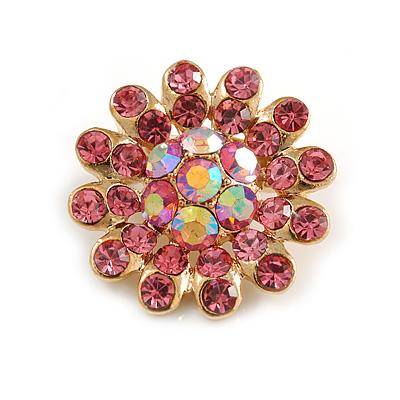 Tiny Light Pink Crystal Daisy Pin Brooch (Gold Tone)