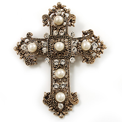 Large Victorian Filigree Imitation Pearl Crystal Cross Brooch (Antique Gold)