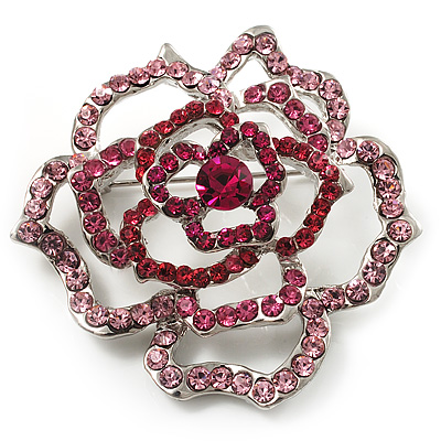 Stunning Pink Crystal Rose Brooch (Silver Tone)