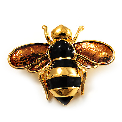 Gold Plated Bee Pin (Black & Light Brown) - main view