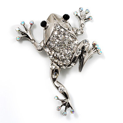 Clear Crystal 'Leaping Frog' (Silver Tone Metal) - main view