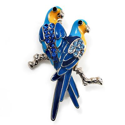 Blue Enamel Parrot Brooch (Silver Tone Metal)