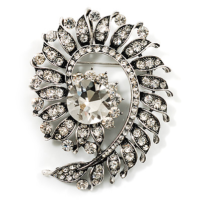 Oversized Clear Crystal Twirl Brooch/ Pendant (Antique Silver Metal Finish)