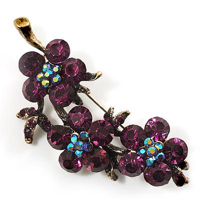 Crystal Floral Brooch (Antique Gold & Deep Purple)