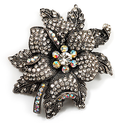 Large Diamante Floral Corsage Brooch (Antique Silver Tone) - main view