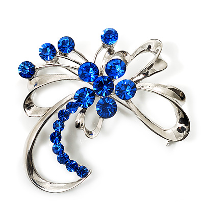 Delicate Sapphire Blue Coloured Crystal Floral Brooch (Silver Tone Metal)