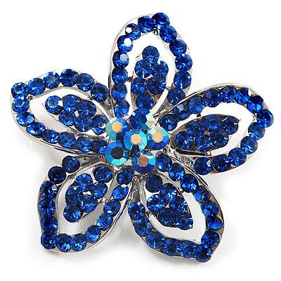Blue Diamante Daisy Flower Brooch (Silver Tone)
