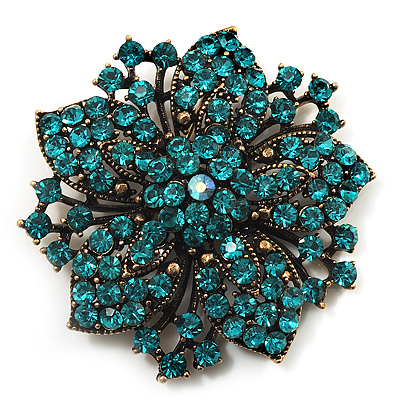 Victorian Corsage Flower Brooch (Antique Gold & Teal)