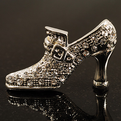 Silver Tone Diamante Shoe Brooch