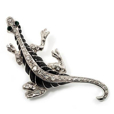Silver Plated Crystal Enamel Lizard Brooch - main view