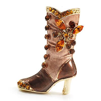 Honey Brown Enamel Crystal High Boot Pin Brooch (Gold Tone Metal)
