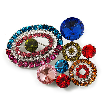 Multicoloured Diamante Cluster Brooch (Silver Tone)